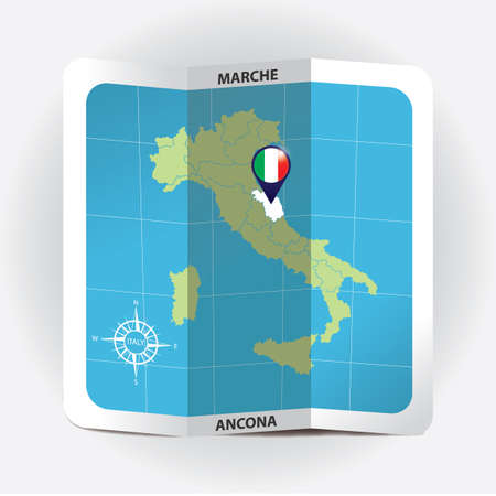 Map pointer indicating marche on italy map