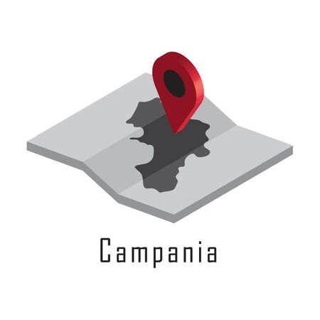 지도 포인터가있는 캠 피아 니언지도 일러스트