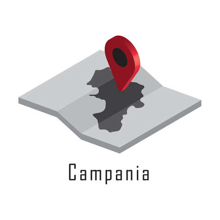 campania map with map pointer Stock Vector - 81590172
