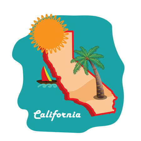 california state map with long beach Stock Vector - 81484995