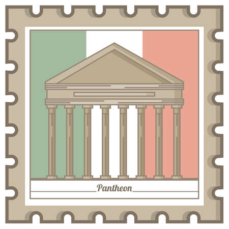 pantheon postal stamp 向量圖像