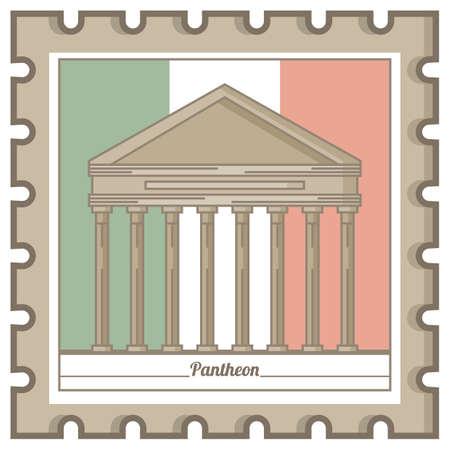 pantheon postal stamp Illustration