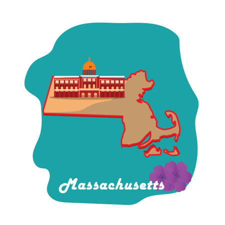 massachusetts state map with mayflower  イラスト・ベクター素材