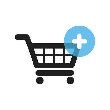 shopping cart with plus symbol