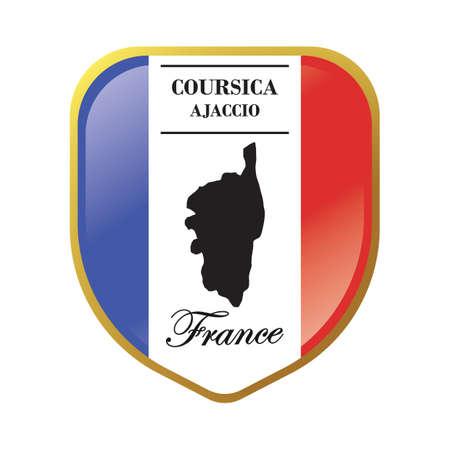 ajaccio: coursica map label Illustration