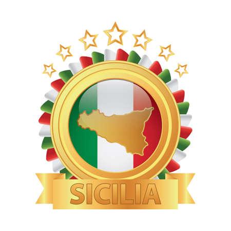 sicilia map Ilustrace