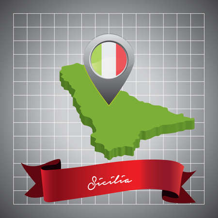 sicilia map with map pointer Illustration