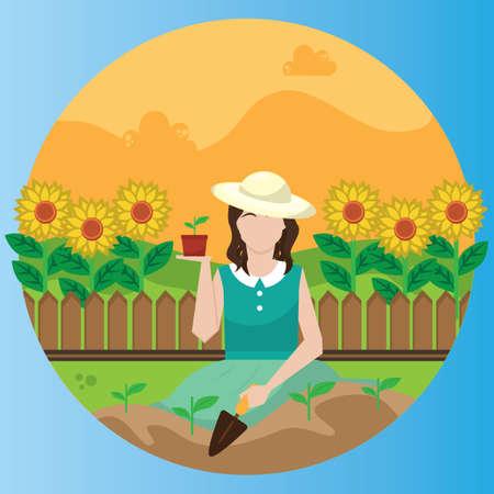 vrouw tuinieren