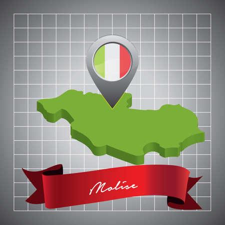 molise map with map pointer Ilustração