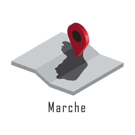 マップ ポインターとマルケ州地図  イラスト・ベクター素材
