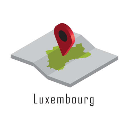 luxembourg paper map with map pointer