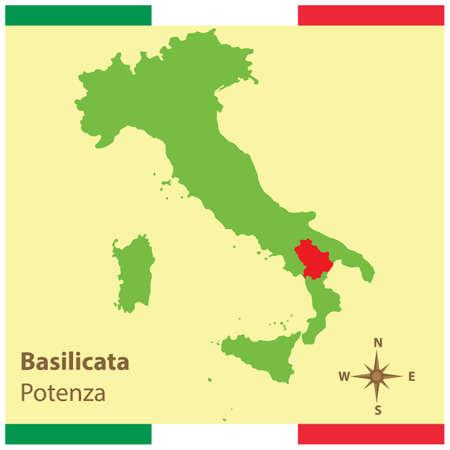 이탈리아지도에 basilicata