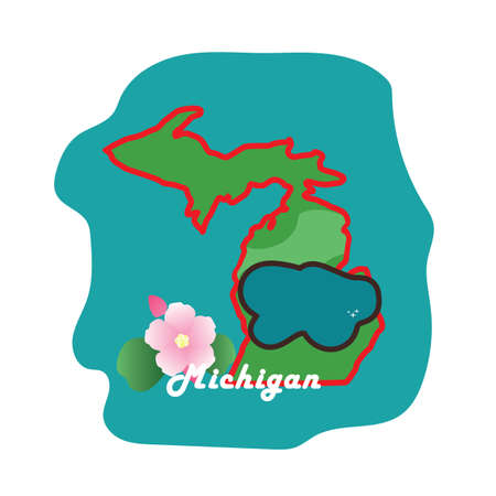 michigan state map with lake michigan apple blossom