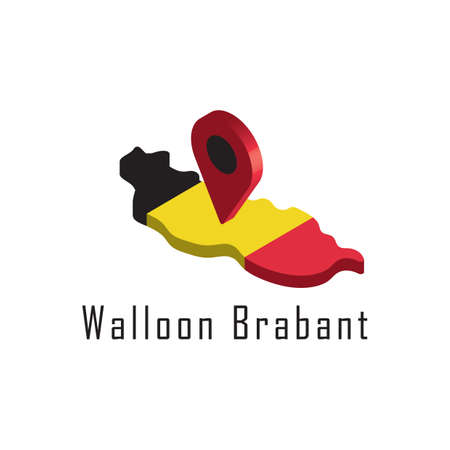 walloon brabant map with map pointer