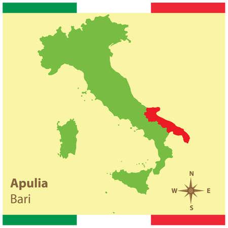 이탈리아지도에 apulia