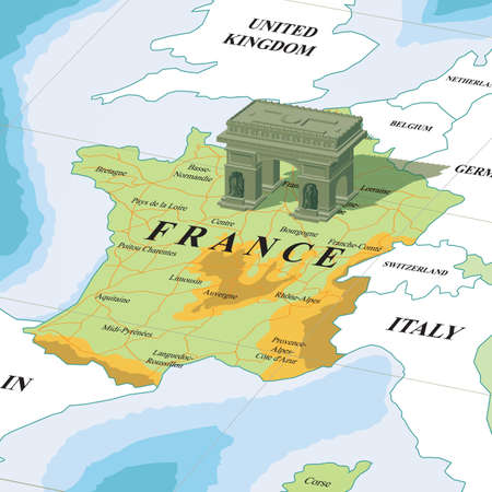 Map with arc de triomphe Illustration