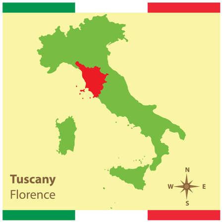 tuscany on italy map Фото со стока - 81590220