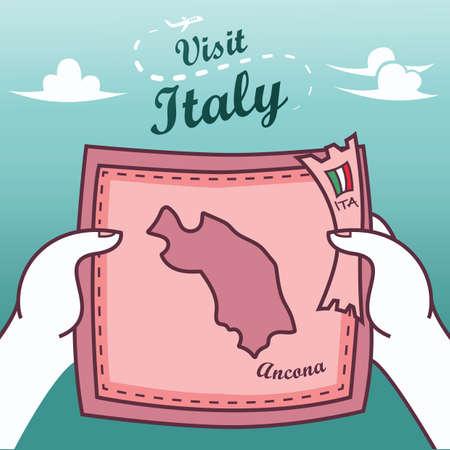 Handen met ancona papieren kaart