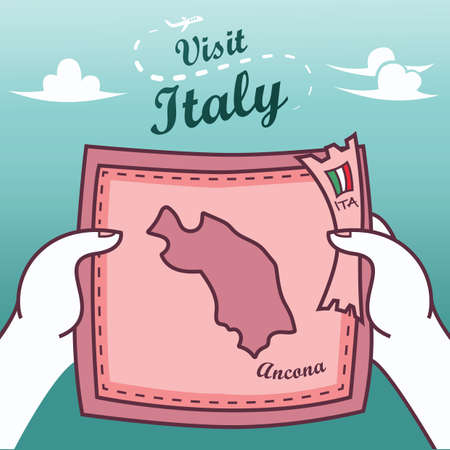 Hands holding ancona paper map