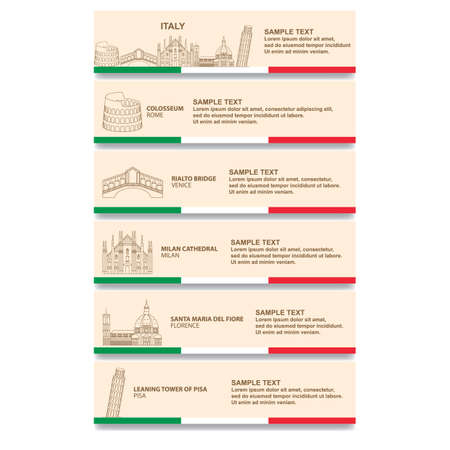 イタリア バナーの設定  イラスト・ベクター素材