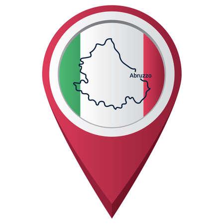 Kaartwijzer met abruzzo-kaart Stock Illustratie
