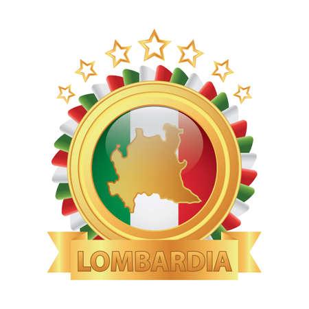 Lombardia karte Standard-Bild - 81590222
