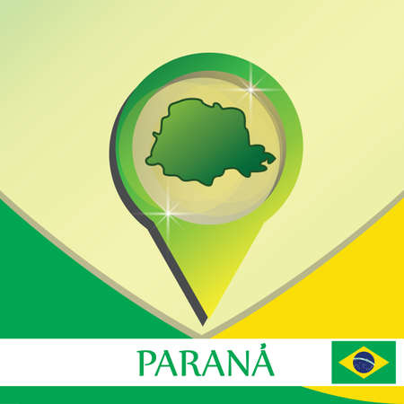 parana state map pointer Illustration