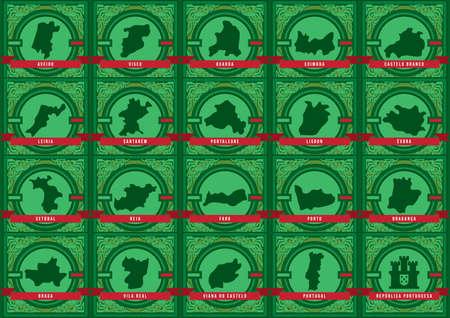 Conjunto de mapas de ciudades de portugal Foto de archivo - 81535901