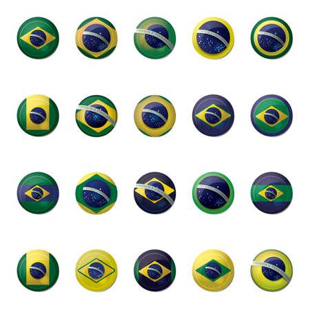 brazil flag icon set Reklamní fotografie - 106669525