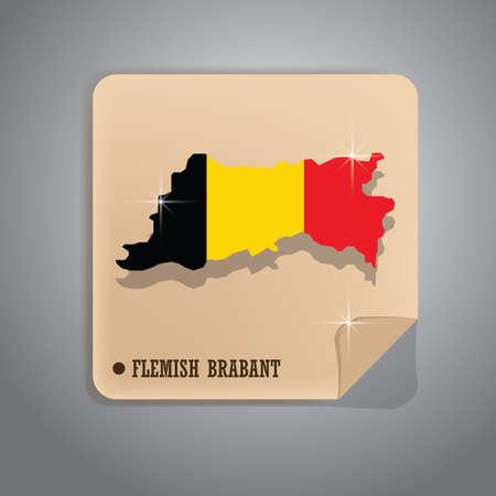 flemish brabant map sticker  イラスト・ベクター素材