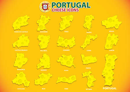 Portugal kaas iconen Stock Illustratie