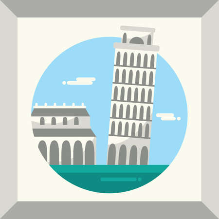leaning tower of pisa Illustration