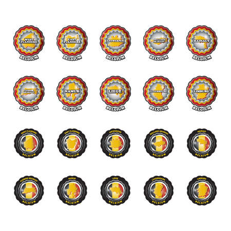 set of belgium state map labels and stickers Stockfoto - 106669600