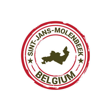 sint-jans-molenbeek map stamp 向量圖像