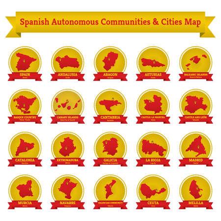 スペインの自治コミュニティおよび都市の地図のコレクション  イラスト・ベクター素材
