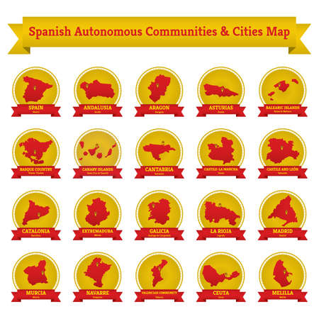 collection of spanish autonomous communities and cities map Illustration