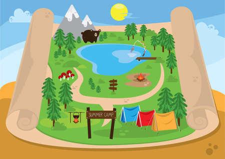 夏のキャンプの地図
