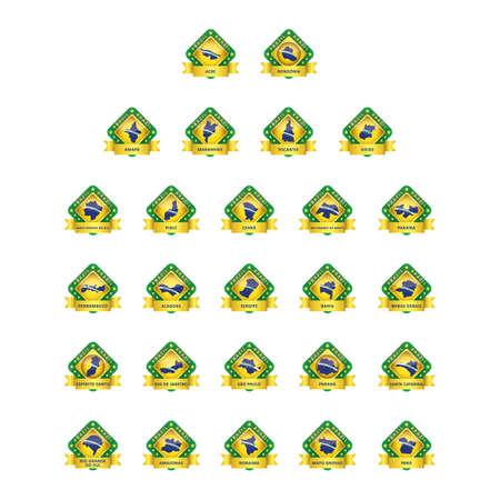collection of brazil state map Ilustração
