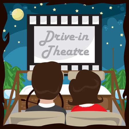 drive-in theatre Illustration