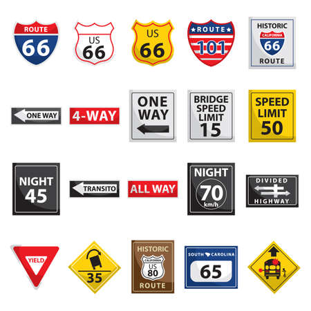 collection of usa road signs