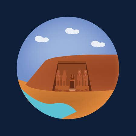 de abu simbel tempels Stock Illustratie