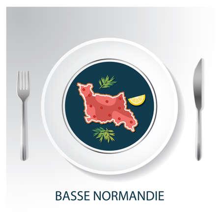Basse normandie map Ilustrace