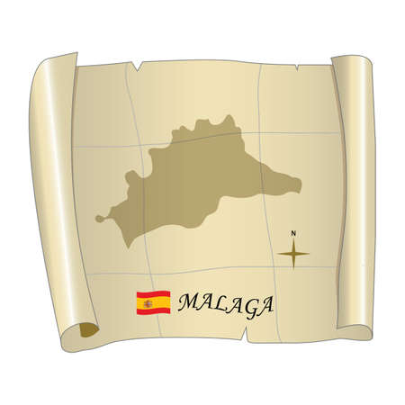 Malaga map Ilustração