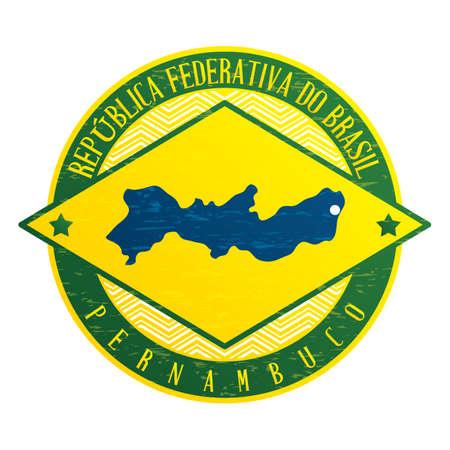 pernambuco state map Illustration