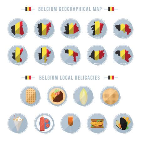 belgium geographical maps and local delicacies Stock Illustratie