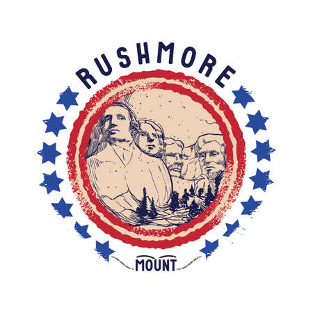 grunge rubber stamp of rushmore mount Illustration