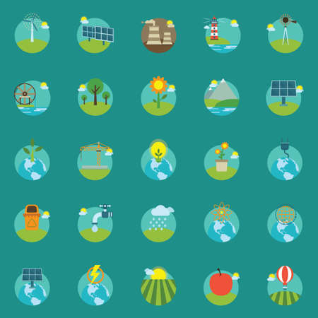 wind wheel: collection of eco icons