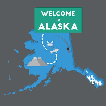 montañas nevadas: la bienvenida a estado de Alaska Vectores