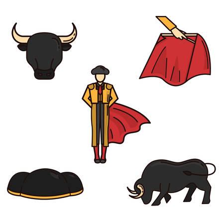 bullfighter: set of bullfighter icons