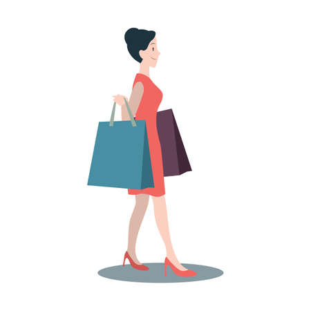 human being: woman with shopping bags